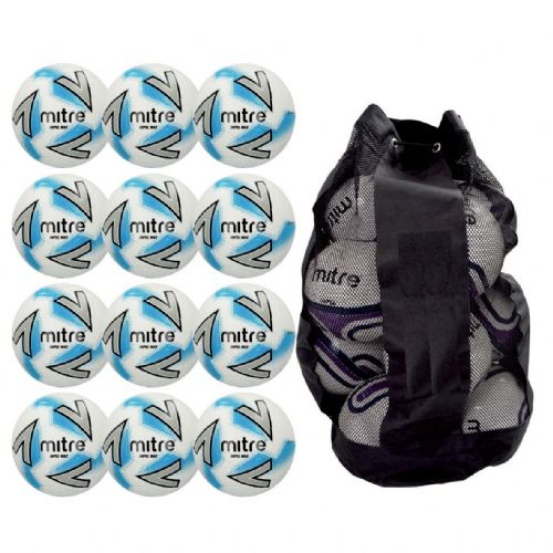 Mitre Impel Max Training Ball 12 Balls and Bag - White/Silver/Blue